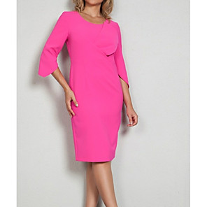 cheap Cocktail Dresses-Sheath / Column Elegant Pink Wedding Guest Cocktail Party Dress Jewel Neck 3/4 Length Sleeve Knee Length Satin with Pattern / Print 2020