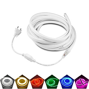 cheap Neon LED Lights-5m Neon Flexible LED Light Strips 600 LEDs EL 12V 6A Adapte Warm White White Red Waterproof Cuttable Advertising Fonts Advertising Signboard DIY Party 220 V 110 V 1 set