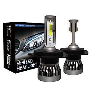 cheap Car Headlights-2pcs car led headlight Mini Size H4 hi /lo beam LED Headlight Bulbs Car Light Lamp Fog Lights 6000K  12v