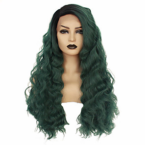 cheap Synthetic Lace Wigs-Synthetic Lace Front Wig Wavy Taylor Middle Part Lace Front Wig Long Green Synthetic Hair 22-26 inch Women's Heat Resistant Women Hot Sale Green / Glueless