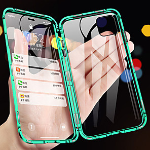 cheap iPhone Cases-Case For Apple iPhone 11 / iPhone 11 Pro / iPhone 11 Pro Max Magnetic Full Body Cases Solid Colored Tempered Glass / Metal