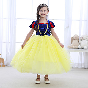cheap Movie & TV Theme Costumes-Princess Dress Masquerade Flower Girl Dress Girls' Movie Cosplay A-Line Slip Cosplay Halloween Ink Blue Dress Halloween Carnival Masquerade Tulle Polyester