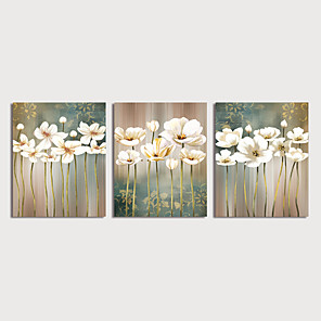 cheap Oil Paintings-Oil Painting Hand Painted - Floral / Botanical Modern Stretched Canvas / Three Panels