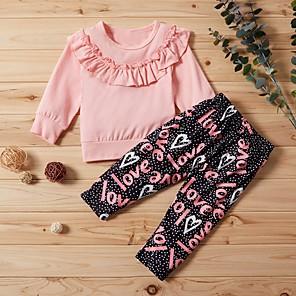 cheap Kids Collection Under $8.99-Baby Girls' Street chic Print Long Sleeve Regular Clothing Set Blushing Pink