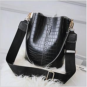cheap Handbag & Totes-Women's PU Tote Solid Color Black / Green / Coffee