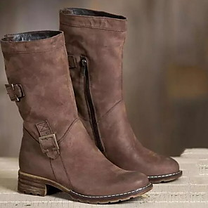 cheap Women's Boots-Women's Boots Cowboy Western Boots Low Heel Round Toe Daily Solid Colored PU Mid-Calf Boots Black / Brown / Gray