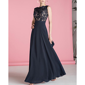 cheap Party Hats-A-Line Open Back Formal Evening Dress Scalloped Neckline Sleeveless Floor Length Chiffon with Lace Insert 2020