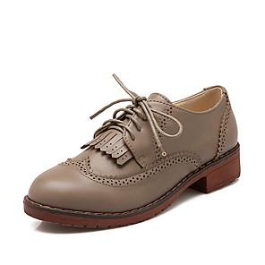 cheap Women's Boots-Women's Oxfords Flat Heel Round Toe PU Fall & Winter Black / Beige / Khaki