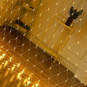 cheap LED String Lights-1pcs 1.5*1.5m Led Net Lights 220V 96leds Wedding Decoration Christmas Fairy String Light Outdoor Holiday Festival Multi Outdoor Garden Lamp