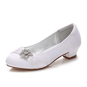 cheap Kids' Tiny Heels-Girls' Mary Jane Satin Heels Little Kids(4-7ys) / Big Kids(7years +) Rhinestone White / Purple / Red Spring / Party & Evening / Rubber