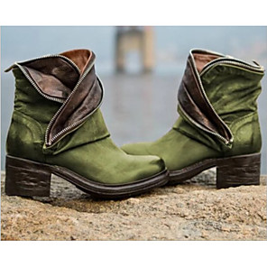 cheap Women's Boots-Women's Boots Comfort Shoes Low Heel Round Toe PU Booties / Ankle Boots Fall & Winter Black / Brown / Wine