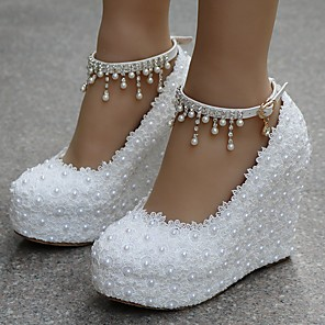 cheap Wedding Shoes-Women's Wedding Shoes Wedge Heel Round Toe Sweet Wedding Party & Evening Solid Colored PU Walking Shoes Summer White