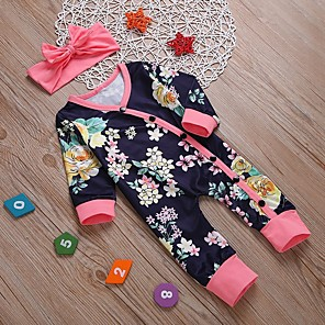 cheap Kids Collection Under $8.99-Baby Girls' Basic Floral Long Sleeve Romper Navy Blue