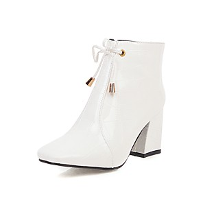 cheap Shoes Covers & Rainshoes-Women's Boots Chunky Heel Round Toe Bowknot PU Booties / Ankle Boots Classic Spring &  Fall / Fall & Winter Black / White / Burgundy / Wedding / Party & Evening