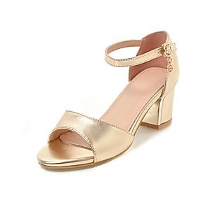 cheap Women's Sandals-Women's Sandals Chunky Heel Open Toe Buckle PU Classic / Minimalism Summer Black / Gold / Silver / Wedding / Party & Evening