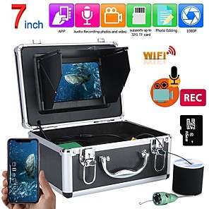 cheap CCTV Cameras-F011M-20M-IR Fish Finder Underwater Fishing 1080P Camera Kit 7 Inch WIFI Wireless 16GB Video Recording DVR  15M 6W white LEDs
