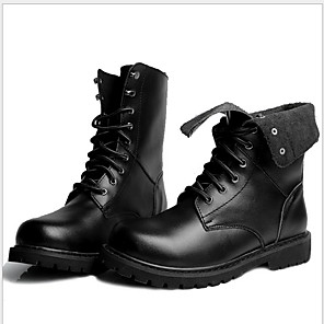 cheap Men's Boots-Men's Combat Boots Leather Fall Boots Booties / Ankle Boots Black / Brown