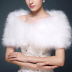 cheap Wedding Wraps-Sleeveless Capelets Faux Fur / Special Fur Type / Feather / Fur Wedding / Party / Evening Women's Wrap With Feathers / Fur