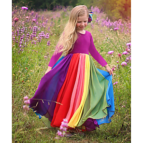 cheap Kids' Boots-Kids Toddler Girls' Active Boho Solid Colored Patchwork Long Sleeve Maxi Dress Fuchsia
