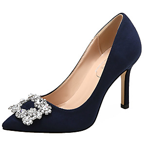cheap Wedding Shoes-Women's Wedding Shoes Glitter Crystal Sequined Jeweled Stiletto Heel Pointed Toe Rhinestone Suede Sweet Spring &  Fall Almond / Yellow / Red