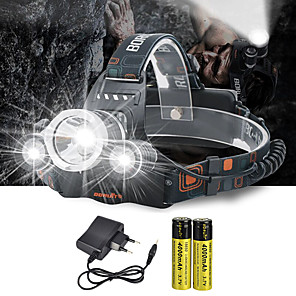cheap Flashlights-Headlamps Headlight 10000 lm LED Emitters 4 Mode with Batteries and Charger Anglehead Suitable for Vehicles Super Light Camping / Hiking / Caving Cycling / Bike Hunting White Green Red