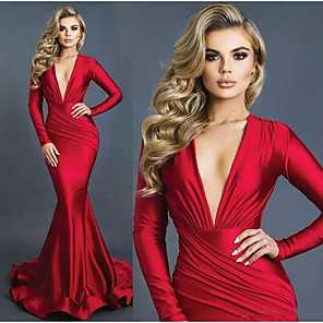 cheap Evening Dresses-Mermaid / Trumpet Sexy Red Engagement Formal Evening Dress V Neck Long Sleeve Sweep / Brush Train Stretch Satin with Draping 2020