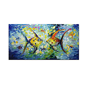cheap Abstract Paintings-Oil Painting Hand Painted - Abstract Animals Modern Stretched Canvas