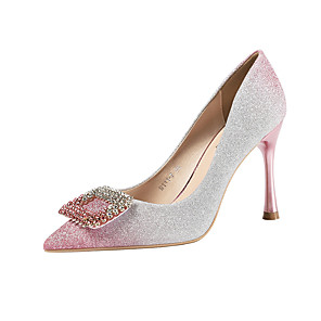 cheap Wedding Shoes-Women's Wedding Shoes Stiletto Heel Pointed Toe Rhinestone / Sequin / Buckle Synthetics Minimalism Fall / Spring & Summer Black / Champagne / Blue / Party & Evening / Color Block