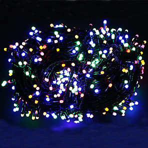 cheap LED String Lights-100m Black Cable String Lights Outdoor String Lights 500 LEDs Warm White RGB White Christmas New Year's Party Decorative Holiday high brightness  EU UK plug 220-240 V 1 set