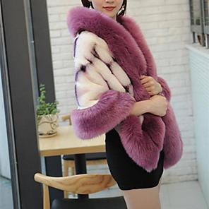 cheap Wedding Wraps-Sleeveless Coats / Jackets / Capes Fox Fur Wedding / Party / Evening Women's Wrap / Women's Scarves With Leopard Print / Fur / Color Block