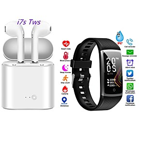cheap Smartwatches-Smart Bracelet Health Bracelet Sports Bracelet Heart Rate Blood Pressure with TWS Bluetooth Wireless Headphones Music Headphones