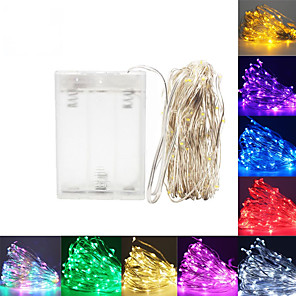 cheap LED Strip Lights-LED String Lights 5m 50 Leds Silver Wire Garland Home Christmas Wedding Party Decoration Powered By AA Battery Fairy Light