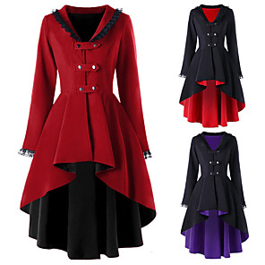 cheap Lolita Dresses-Plague Doctor Retro Vintage Steampunk Coat Masquerade Women's Cotton Costume Black / Red / Black / Purple Vintage Cosplay Party Halloween Long Sleeve