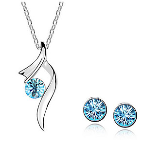 cheap Jewelry Sets-Women's Stud Earrings Pendant Necklace Classic Precious Unique Design Fashion Silver Plated Earrings Jewelry White / Blue For Daily Street Holiday Work 1 set