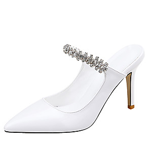 cheap Wedding Shoes-Women's Clogs & Mules Stiletto Heel Pointed Toe Rhinestone Patent Leather Classic Fall / Spring & Summer Black / Nude / White / Party & Evening