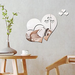 cheap Wall Stickers-Hearts Wall Stickers Mirror Wall Stickers Decorative Wall Stickers, Acrylic Home Decoration Wall Decal Wall Decoration 5pcs / Removable