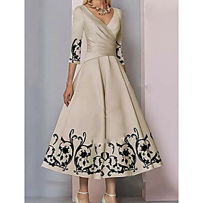 cheap Party Hats-A-Line Mother of the Bride Dress Elegant & Luxurious Plunging Neck Ankle Length Satin 3/4 Length Sleeve with Pattern / Print 2020