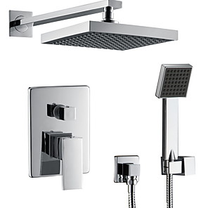 cheap Shower Faucets-Shower Faucet - Contemporary Wall Mounted Ceramic Valve Bath Shower Mixer Taps