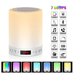cheap Smart Lights-Colorful Night Light With Bluetooth Speaker Smart Portable Wireless Touch Control Desk Table Lamp TF Card Color LED Luminaria