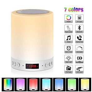 billiga Bordslampor-färgglad nattlampa med smarta bärbara trådlösa trådlösa beröringsbord för bordslampa med Bluetooth-högtalare tf-kortfärg led luminaria