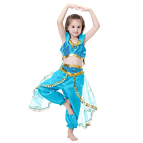 cheap Movie & TV Theme Costumes-Princess Jasmine Dress Cosplay Costume Flower Girl Dress Kid's Girls' A-Line Slip Halloween Christmas Halloween Carnival Festival / Holiday Tulle Polyster Green / LightBlue Carnival Costumes Princess