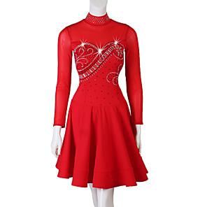 cheap Latin Dancewear-Latin Dance Dress Crystals / Rhinestones Women's Performance Long Sleeve Spandex