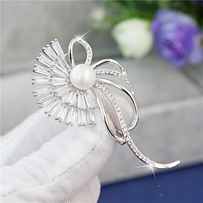 cheap Earrings-Women's AAA Cubic Zirconia Brooches Korean Brooch Jewelry Silver For Party Festival
