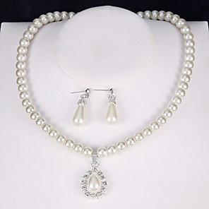 cheap Earrings-Women's Drop Earrings Pendant Necklace Bridal Jewelry Sets 3D Precious Pear Unique Design Fashion Imitation Pearl Silver Plated Earrings Jewelry White For Wedding Party Holiday Festival 1 set