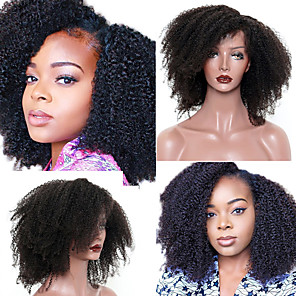 cheap Synthetic Trendy Wigs-Human Hair 4x13 Closure Wig style Mongolian Hair Afro Curly Natural Wig 130% Density Smooth Women Best Quality Hot Sale Comfortable Women's Medium Length Human Hair Lace Wig / Natural Hairline