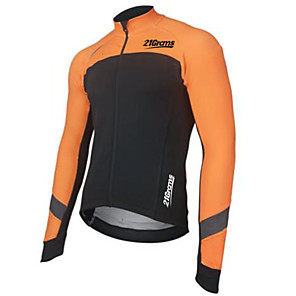 cheap Cycling Jerseys-Men's Long Sleeve Cycling Jersey Winter Black / Orange Bike Jersey Pants Top Mountain Bike MTB Road Bike Cycling UV Resistant Breathable Quick Dry Sports Clothing Apparel / Stretchy