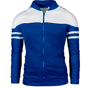 cheap Outdoor IP Network Cameras-Men's Stand Collar Jacket Regular Color Block Daily Long Sleeve Black / Blue / Wine US32 / UK32 / EU40 / US34 / UK34 / EU42 / US36 / UK36 / EU44
