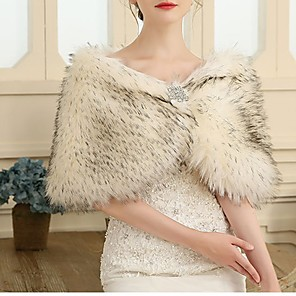 cheap Wedding Wraps-Sleeveless Capes Faux Fur / Special Fur Type / Feather / Fur Wedding / Party / Evening Women's Wrap With Crystal / Rhinestone / Crystal Floral Pin
