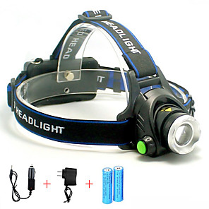 cheap Flashlights & Camping Lanterns-Headlamps Headlight 5000 lm LED LED Emitters 1 Mode with Batteries and Chargers Portable Professional Wearproof Camping / Hiking / Caving Cycling / Bike Hunting United Kingdom AU EU USA Blue