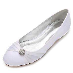 cheap Wedding Shoes-Women's Wedding Shoes Flat Heel Round Toe Rhinestone Satin Classic / Sweet Spring & Summer / Fall & Winter Black / Wine / White / Party & Evening